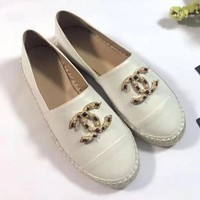 Chanel Pearl Women Fashion Espadrilles Flats Shoes-1