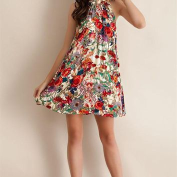 Take It To The Limit Floral Mock Neck Dress
