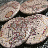 Antique Map Pin-Back Buttons