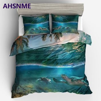 AHSNME cool summer sea palm fronds and sea turtles King Queen Size Bedding Set kids Duvet Cover set Bed set Bed set
