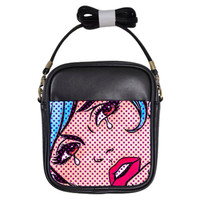 Crying comic girl crossbody bag