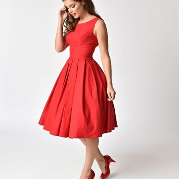 1950s Style Red Belted Cotton Swing Dress