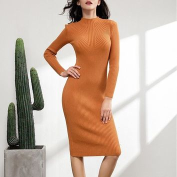 chic autumn winter thick midi sexy slim sweater dress women female bodycon warm dress long sleeve robe basic knitted dress