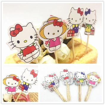 24pcs Hello Kitty Cupcake Inserts Card Kids Birthday Baby Shower Party Supplies Cake Topper Plastic Stick Cake Decoration