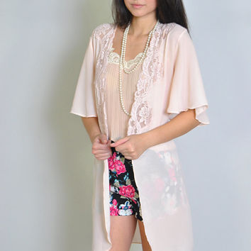 Vintage Kimono 80s Sheer Jacket Robe Cover Up Pink Pastel Lace S M L Festival