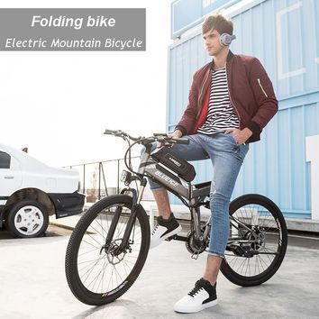 48V 26 inch mountain electric bicycle 24 speed folding bike lithium battery disc brake suspension Power Assisted Cycle MTB EBIKE