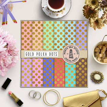 Gold Polkadots Digital Paper Gold Foil Paper Gold Polka Dot Gold Texture Polkadot Pattern Kraft Paper Background Rainbow Paper 12Inx12In