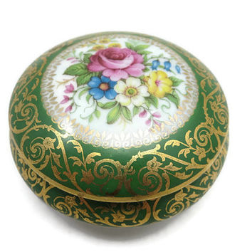 Limoges Trinket Box - Green, Flowers, Gilt, Porcelain