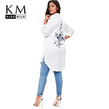 Solid White Women Blouses Floral Embroidered Long Sleeve Female Clothing Casual Lady Tops