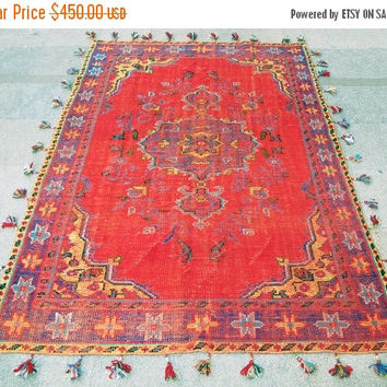 Free Shipping and%20 Sale Red Field With Medallion Turkish Vintage Rug With New Added Tassels 240 x 165  Free Shipping