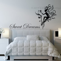 Fairy sweet dreams wall decal, wall words sticker, wall graphic , typography, dream vinyl decal in black