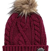 Harley-Davidson Women's Cable Knit & Faux Fur Hat Cap, Cabernet Red. 97819-16VW