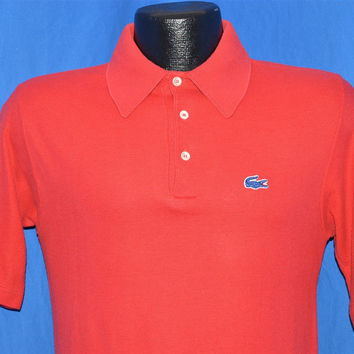 80s Izod Lacoste Red Short Sleeved Polo Shirt Small