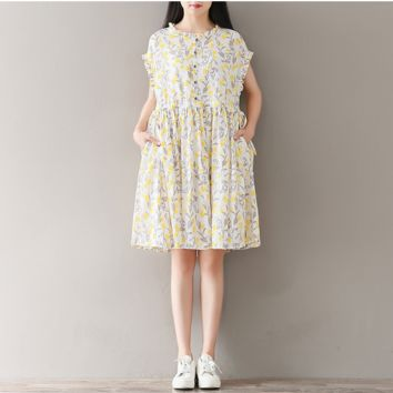 FLORAL SHORT-SLEEVED LOTUS LEAF COLLAR COTTON AND LINEN DRESS TIDE