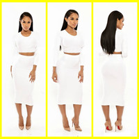 White Long Sleeve Cropped Top and Bodycon Midi Skirt