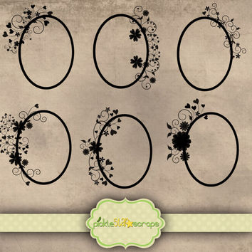 Frames - Black Decorated Oval Thick Border - Digital Scrapbooking Elements - Clip Art Printable - INSTANT DOWNLOAD