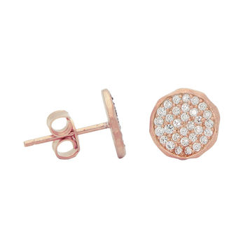 Sterling Silver Rose Gold Plated Disc Stud Earrings Pave Cz 5mm Hammer Look  Rim