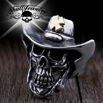 """""""Wanted Dead or Alive"""" Cowboy Skull Ring (662)"""