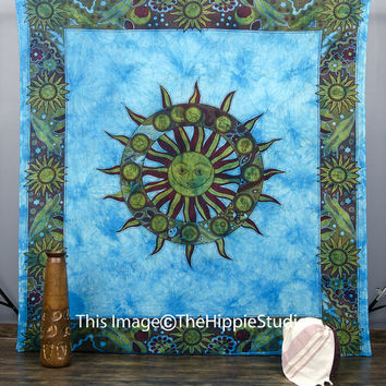 Indian Astrology Tapestry, Mandala Tapestries, Hippie Tapestries, Tapestry Wall Hanging, Wall Tapestries, Boho Bed Spread, Dorm Bed Coverlet