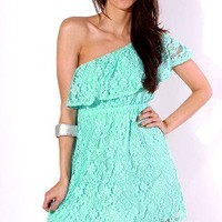 Sexy one shoulder mint green lace ruffled summer party mini dress -AFFORDABLE SEXY PARTY DRESSES, CLUBWEAR 21