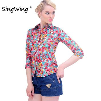 Singwing Women Cotton Blouse Shirts Turn Down Collar Printed Floral Shirts Three Quarter Sleeve Blouses High Quality