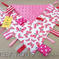 Baby Taggie, Sensory Tag Blanket Toy, Ribbon Lovie, Blankie, butterflies, hearts, red, pink, white, baby girl READY TO SHIP 159
