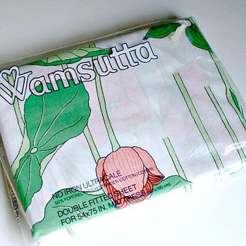 Wamsutta Double Fitted Sheet Water Flower Jay Yang  in Original Package Vintage New Old Stock