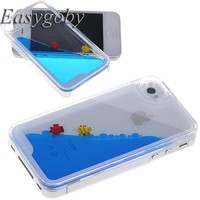 Easygoby Creative Design 3D Fantastic Free Flowing Liquid Swimming Fish Hard Case for Apple iPhone 4 4S (Blue)