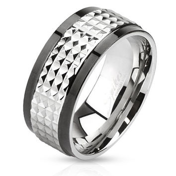 Tough Guy - FINAL SALE Edgy Two Tone Black and Silver Stainless Steel Spiked Ring