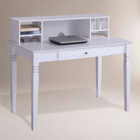 White Douglas Desk with Hutch - World Market