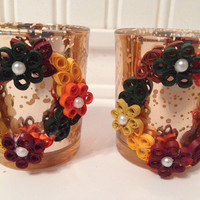 Fall decor, quilling decor, decorated candle, fall table decor, thanksgiving decor, quilling, quilling art, fall color decor, cedar candle