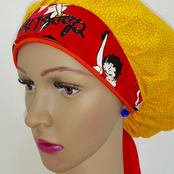 Womens Bouffant Scrub Hat with Bow, Scrub Cap, Scrub Hat, Surgical Scrub Cap, Surgical Scrub Hat,  Scrub Cap