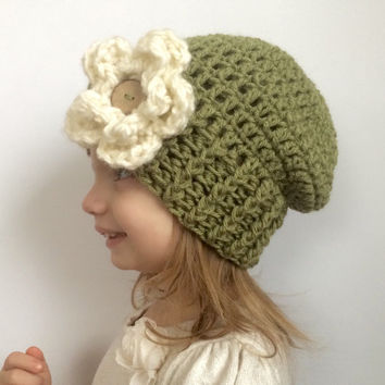 Girls slouch hat, crochet slouch hat with flower, kids hat, girls flower hat