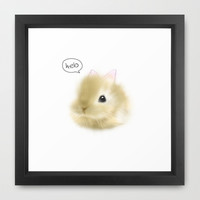 Hello Baby Bunny Framed Art Print by yanying