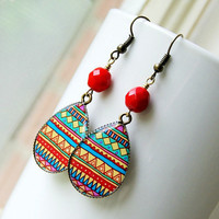 bohemian geometric drop earrings, colorful, boho, hippie, brass, tribal