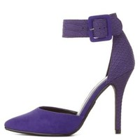 Purple Texture Block D'Orsay Ankle Strap Heels by Charlotte Russe
