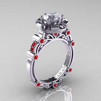 Caravaggio 14K White Gold 1.0 Ct White Sapphire Ruby Engagement Ring R631-14KWGRWS