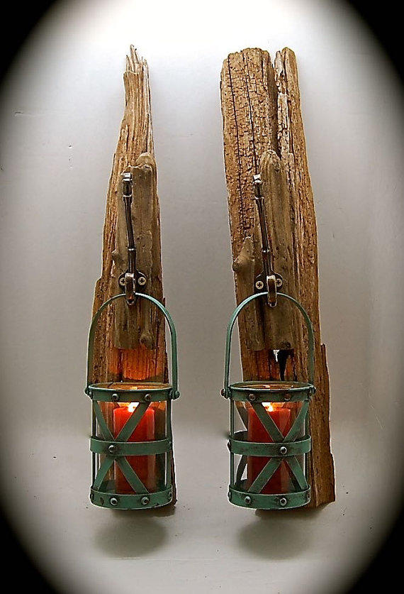 How To Hang Wall Sconces For Candles : Driftwood Sconce with Turquoise from BeachDazzled on Etsy Quick