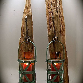Driftwood Sconce with Turquoise Industrial Can Candle Holder, Wall Sconces, Rustic Sconces, Ready to Hang , includes wall hardware too!