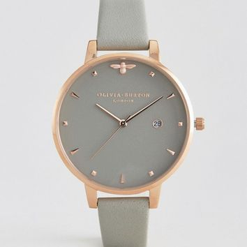 Olivia Burton Queen Bee Grey Leather Watch at asos.com