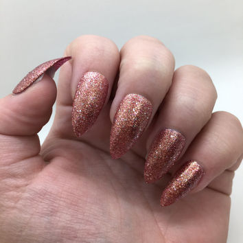 Rose Gold Liquid Sand Fake Nails - Glue On - Different Shapes