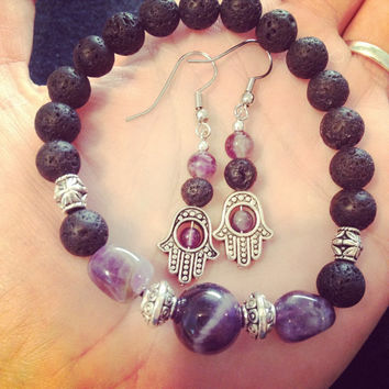 Gorgeous Hamsa Aromatherapy Essential Oil Diffusing Earring and Bracelet Set-Sobriety Stone-Protection from Evil Eye