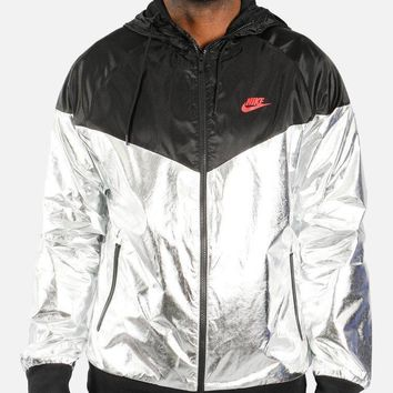 KUYOU Nike Men's Sportswear Windrunner Jacket (Metallic Silver/Black/University Red)