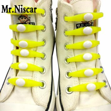 Mr.Niscar 1Set/12Pcs Elastic No Tie Shoelaces for All Sneakers Casual Shoes Unisex Adu
