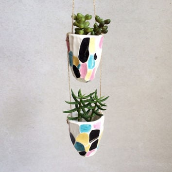 Faceted Hanging Planter - Geometric Housewares - Decor - Ceramics and Pottery