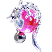 Pink Cubic Zirconia TOP MOUNT Globe GECKO Belly Ring | Body Candy Body Jewelry