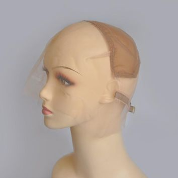 Full Lace Wig Cap Base For Making Full Lace Hand Made Wigs With Adjustable Straps Glueless Weaving Cap Swiss Lace Wig Cap