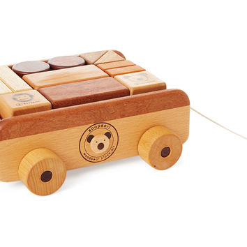 Wooden Blocks Pull Wagon, Natural/Brown, Children's Toys