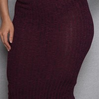 Sky Melange Ribbed Knit Plus-Size Midi Pencil Skirt - Wine