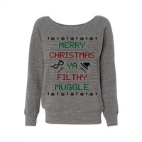 Merry Christmas Ya Filthy Muggle Wideneck Sweatshirt